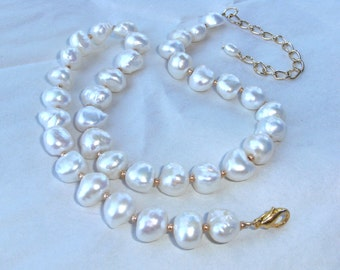 Large White Nugget Pearl Necklace