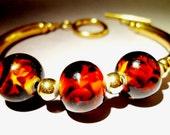 14kt Gold Filled Bracelet Vintage Art Glass Brown-Amber w/Toggle