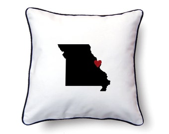Missouri Pillow - 18x18 - Missouri Map - Personalized Name or Text Optional - Wedding - Housewarming Gifts