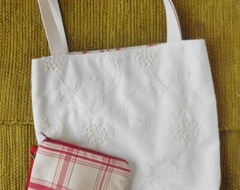 Embroidered tote bag, shopping bag,  market bag, with an included wristlet.