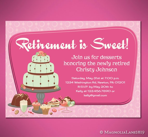 Retirement is sweet party invitation cards customized to like this item stopboris Images