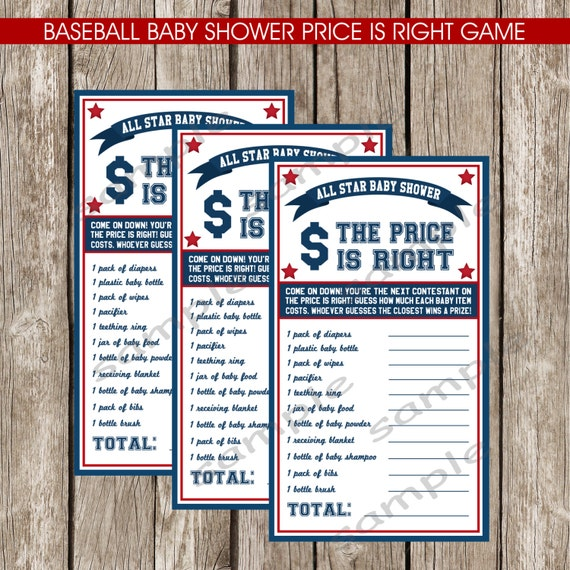 baseball baby shower price is right game diy printable instant
