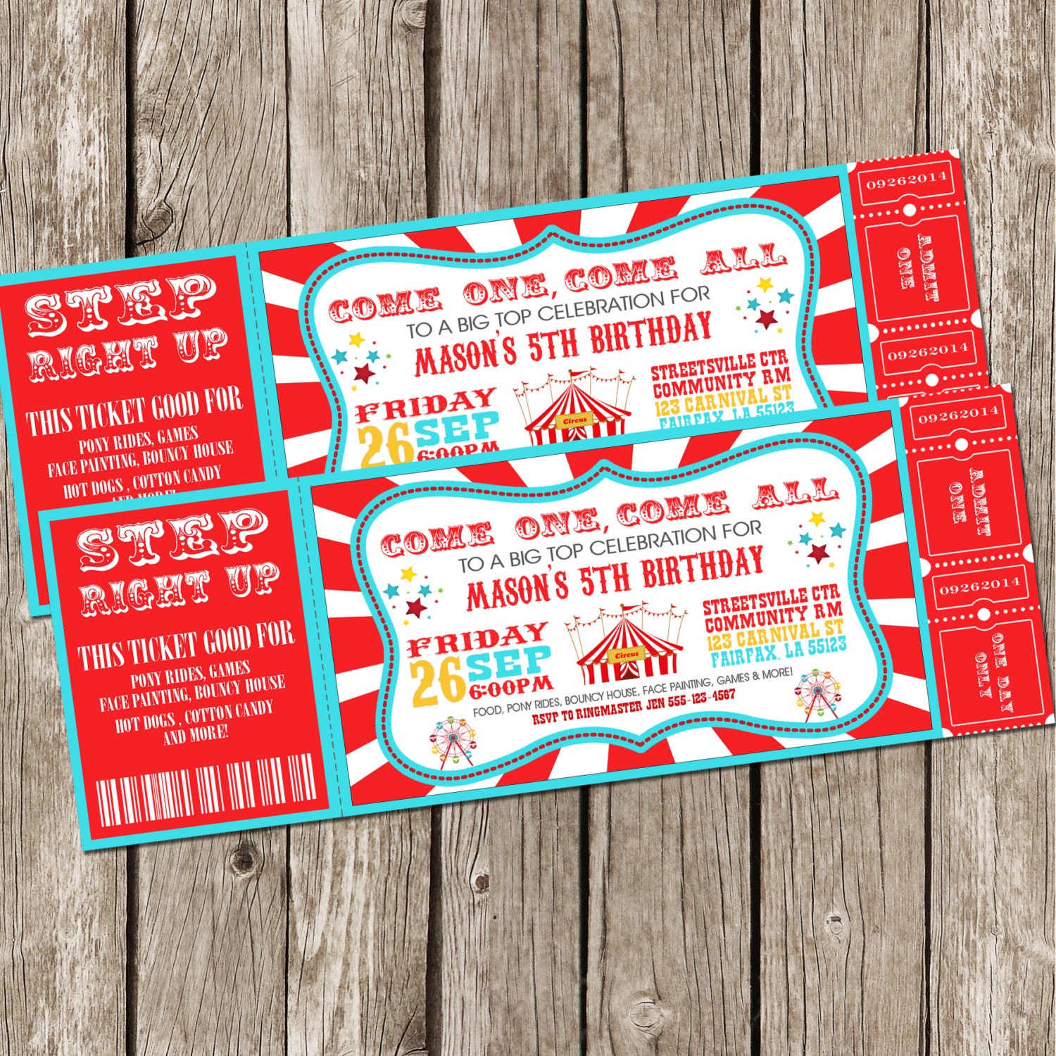 Vintage Circus Carnival Invitation Ticket Invitation