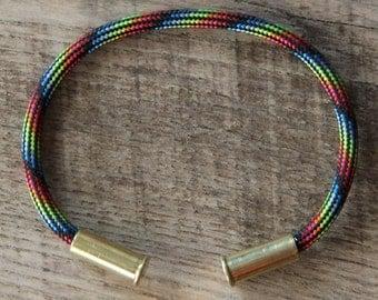 BRZN Recycled .22lr Bullet Casing Neon Lights Camo 550 Paracord Bracelet