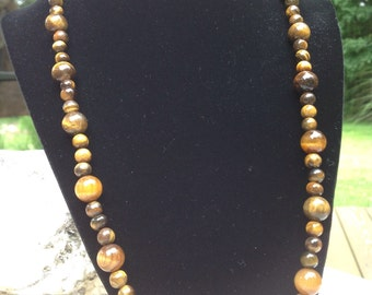 Genuine Tigers Eye Beaded  Necklace