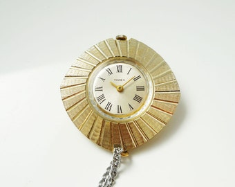 Timex Ladies Pendant Watch 1967 Manual Wind Movement Complete With Chain