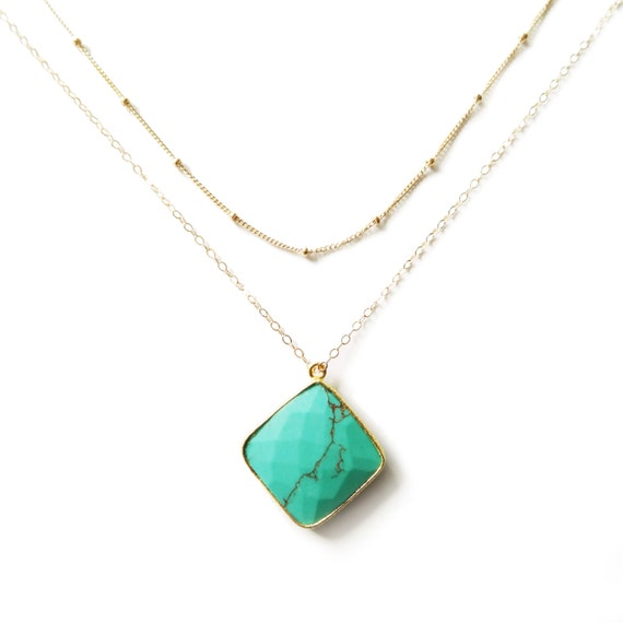 Turquoise Gold Layer Necklace, Satellite Gold Filled Chain, Landon Lacey, Delicate Necklace, Turquoise Necklace, Everyday Necklace, Dainty
