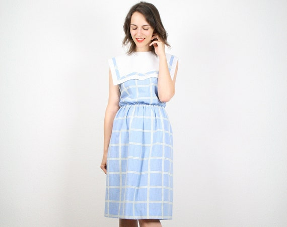Vintage Sailor Dress Pastel Blue Sky Blue Plaid Sailor Bib Nautical Dress Midi Dress Sundress Day Dress Tea Length White M Medium L Large