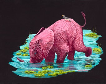 "Getting a Drink 8"" x 10"" Print - 11"" x 14"" with matting. Pink Elephants"