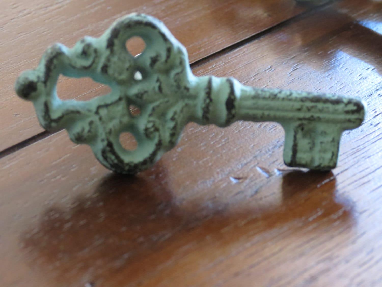 Key shaped knobs drawer knobs drawer pulls shabby chic for Key drawer handles