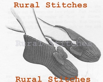 Simple Pattern for Slippers Vintage Knitting PDF - 1960s