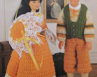 Crochet Barbie Fashion Doll Pattern YESTERYEAR OUTFITS ~ Boy & Girl Vintage Ensembles