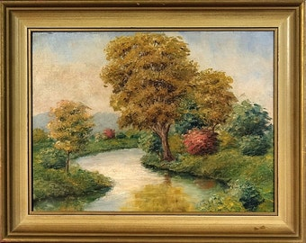 Rare ca.1935  Impressionist Painting Oil on Canvas w/Frame Signed