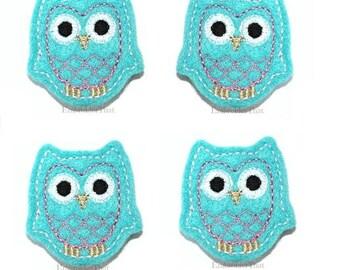 UNCUT Light blue and pink Felt Owl applique embellishment feltie hair bow centers (4)