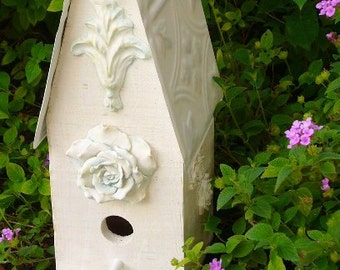 Blue Rose Shabby Chic Cottage Birdhouse, Tin Roof, Handcrafted