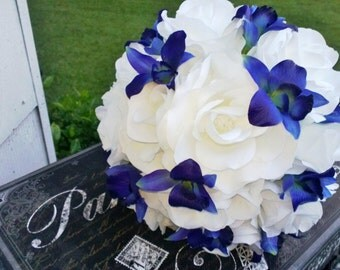 Blue Orchid White Rose Bridal Bouquet Wedding Bouquet, Blue Orchid Bouquet, White Blue Bouquet, White Royal Blue Bouquet Sonia Blue Orchid