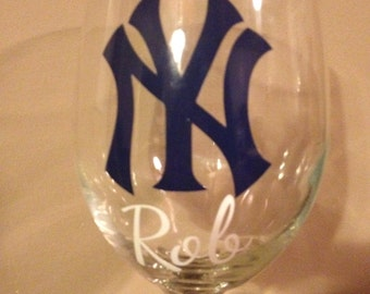 Personalized Yankees Wine Glass Perfect for any Baseball Fan