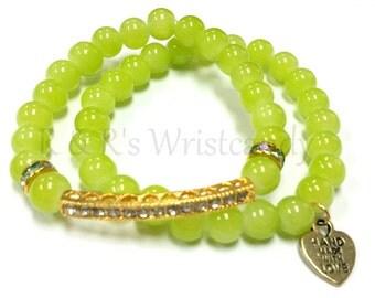 Beaded Bracelets, Rhinestone Bar, Beaded Bracelet, Green Bracelet, Bracelet Set, Handmade, Custom Beaded Jewelry, Women's Jewelry