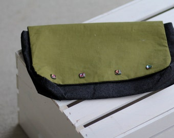 Olive Green Soft Cotton Clutch with Jeweled Buttons