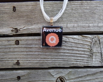 Broadway Musical Avenue Q Glass Pendant and Ribbon Necklace