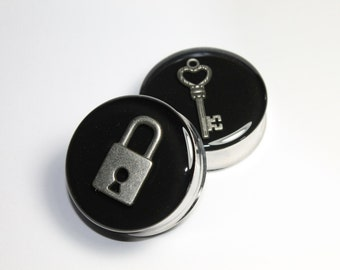 Silver Lock and Key Plugs, gauges   1 3/8 (35mm), 1 1/2 (38mm), 1 5/8 (42mm)