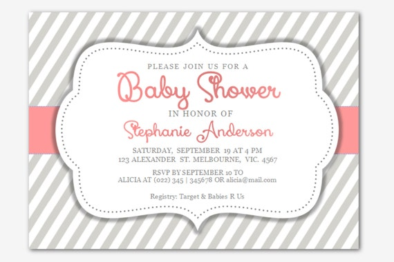 Word Baby Girl Shower Invitation | Diagonal Stripes | MS-Word template ...