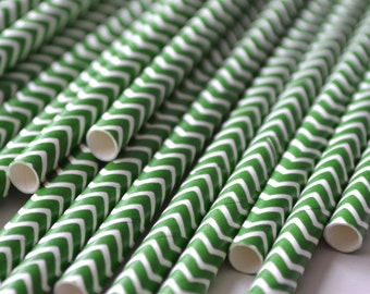 Dark Green Chevron Paper Straws