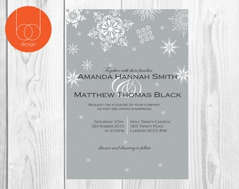 Grey Snowflakes Wedding Invitation Digital
