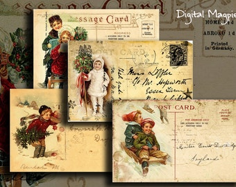 Vintage Christmas Postcards digital collage sheet instant download printable snow children digital graphic craft images paper crafts