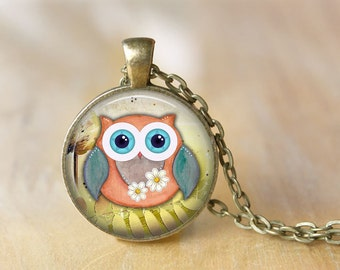 Owl Pendant Necklace Owl Jewelry Art Photo Print Pendant Gift For Her (069)