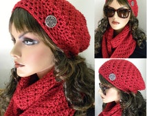 Scarlet Red Infinity Scarf and Hat Set Hand Crocheted Soft Silky Warm Womens Fashion Accessories