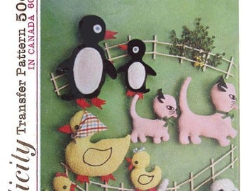 Uncut 1965 Vintage Simplicity Pattern 6258, Transfers for Flat Stuffed Toys, Penguin, Cat, Duck, Dog  - No Envelope