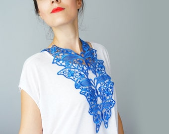 Summer Party Summer Outdoors Lace Necklace Lace Jewelry Royal Blue Necklace Bib Necklace Statement Necklace Body Jewelry / FIORDI