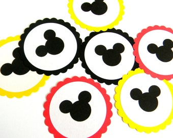 12 Mickey Scalloped Embellishments
