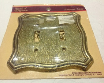Vintage Double Light Switch Plate Gold Metal Light Switch Plate Double Toggle Gold Tone