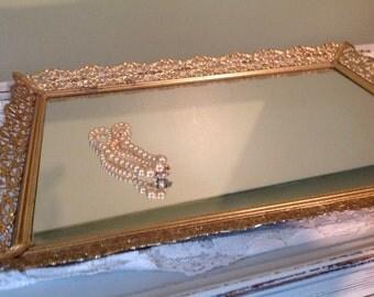 Vintage Vanity Mirror Vintage Mirrored Dresser Tray Metal Dresser Tray Glass Perfume Tray
