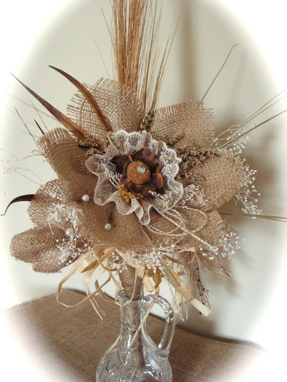 Rustic   Burlap Flowers Centerpiece Wedding Decoration.