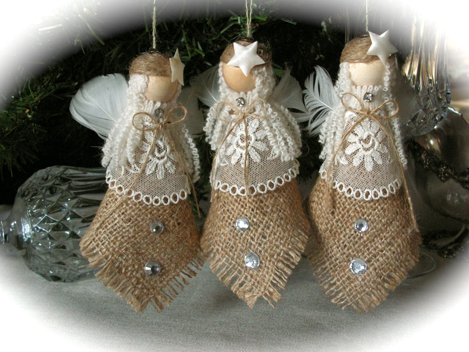 Christmas ornament burlap angel set of 3 for Angel decoration