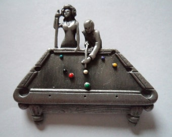Vintage Signed AJC Silver pewter Snooker Table Brooch/Pin