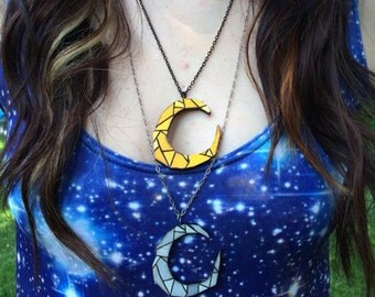 Stained Glass Moon Holz Necklace (doublesided) FREE SHIPPING