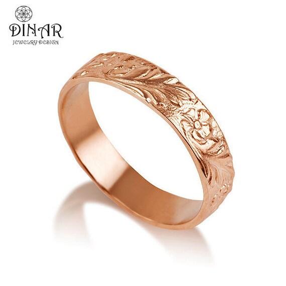 Wedding Flowers And Rings: 14k Rose Gold Flower Wedding Band Handmade Flower Engraved