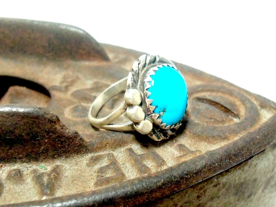 Turquoise Ring Sterling Silver, 1940s, Southwestern Utah, Size 4 1/4
