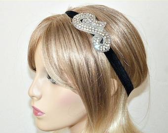 Rhinestone Headband Sparkly Headband Black Headband Womans and Teens Headband
