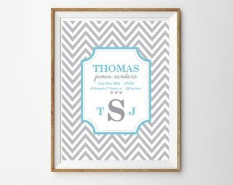 Gray and Blue Chevron Birth Announcement Print for a Baby Boy's Nursery - Instant Download Wall Art - Print at Home