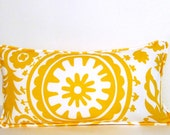 SALE!!! Corn Yellow Suzani LUMBAR Pillow Cover with Self Piping Handmade in the USA