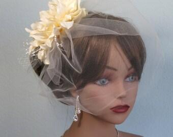 Wedding Headpiece with Bridal Birdcage Veil  Fascinator  Wedding Hair Clip  Wedding Accessory Vail