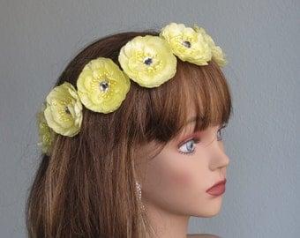 Wedding Accessory Yellow Flower Hair  Clip Wedding Hair Clip Bridal Accessory Crystals