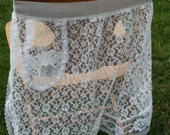 Vintage White Lace Sheer  Half Apron with cute little pocket with a satin bow