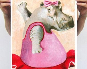 Ballerina Hippo : Art Print Poster A3 Illustration Giclee Print Wall art Wall Hanging Wall Decor Animal Painting Digital Art