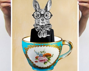 Rabbit Print, Rabbit Art Print, Rabbit Bunny Print, Rabbit Art, Bunny Print, Rabbit Wall Art, Cup, Rabbit Artwork, Wall Art,Nursery Decor
